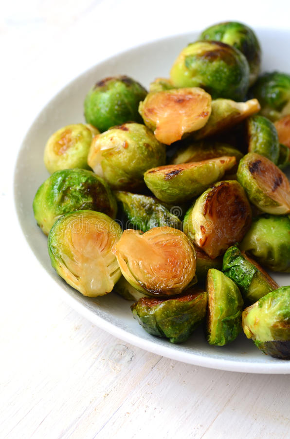 Roasted Brussel Sprouts. With honey and balsamic vinegar stock photo