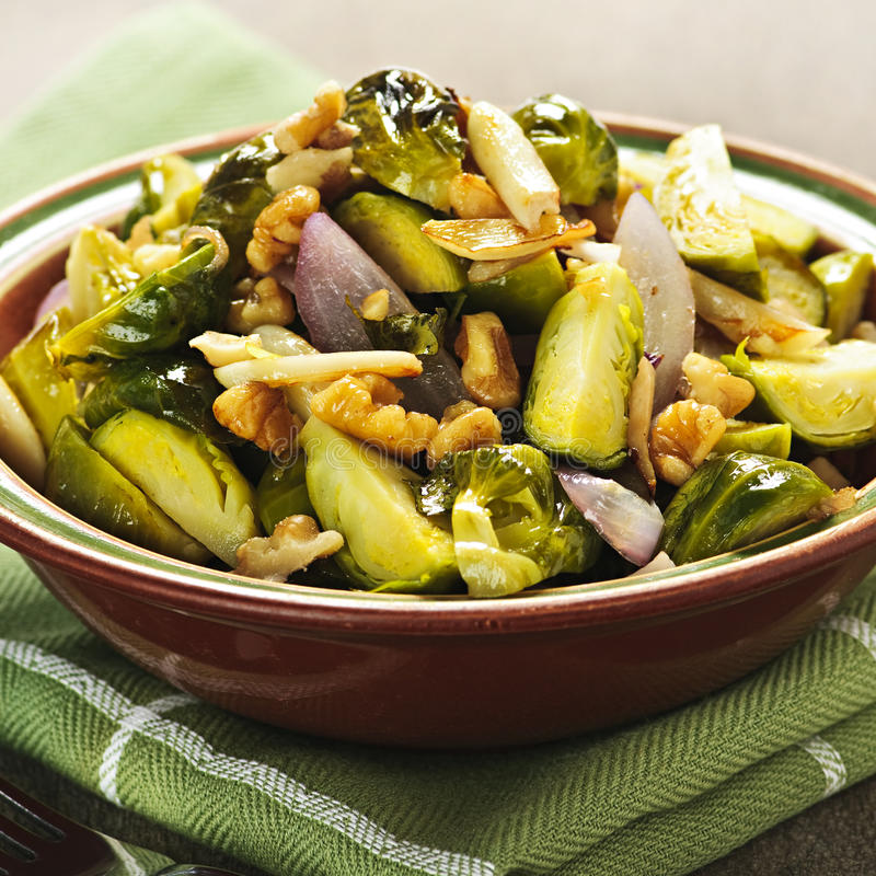 Roasted brussels sprouts dish stock photography