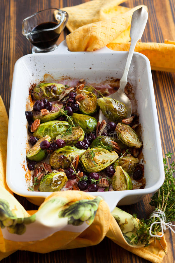Roasted brussels sprouts royalty free stock photo