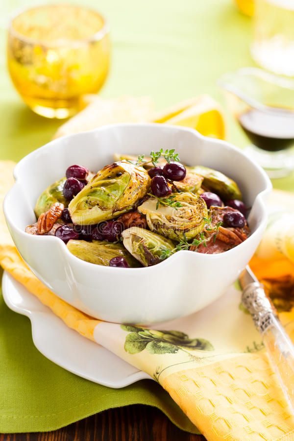 Roasted brussels sprouts royalty free stock photos