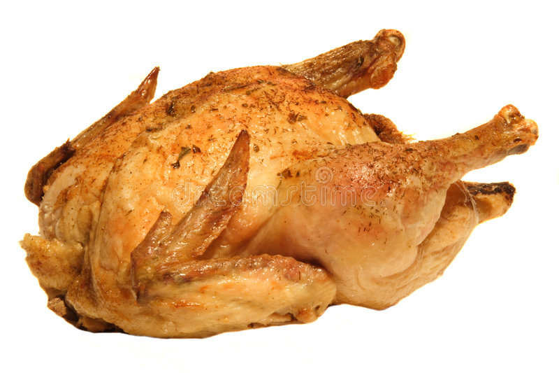 Roasted Chicken. Isolated on a white background royalty free stock photography