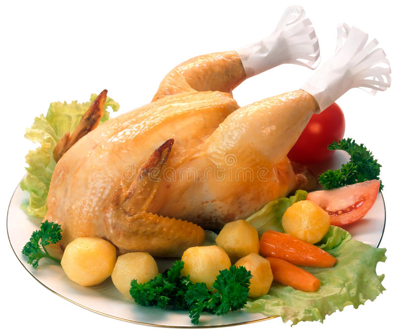 Roasted chicken stock image