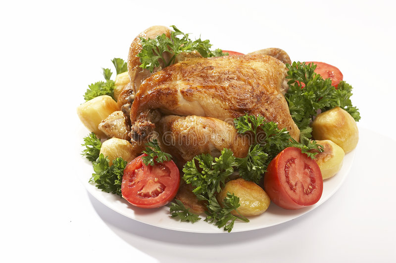 Download Roasted chicken #2 stock image. Image of plate, vegetable - 1319061