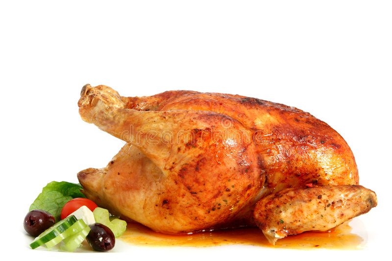 Roasted Chicken. Golden roasted chicken, ready to serve royalty free stock photography
