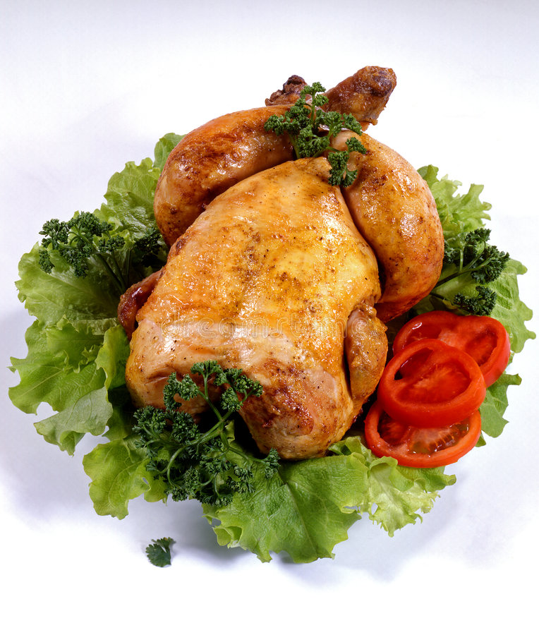 Roasted Chicken. Tasty Crispy Roast Chicken. Roasted Chicken royalty free stock photo