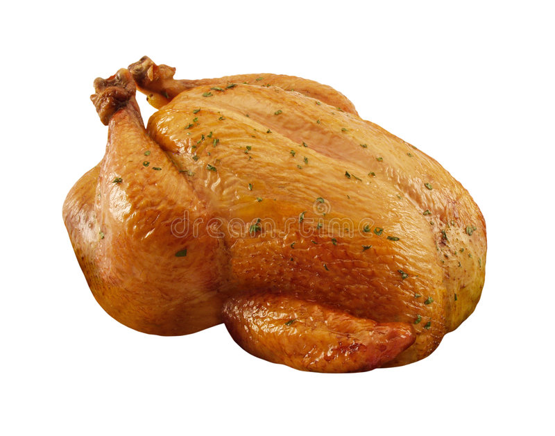 Roasted Chicken. Isolated on a white background with a clipping path. Isolation is on a transparent layer in the PNG format royalty free stock photos