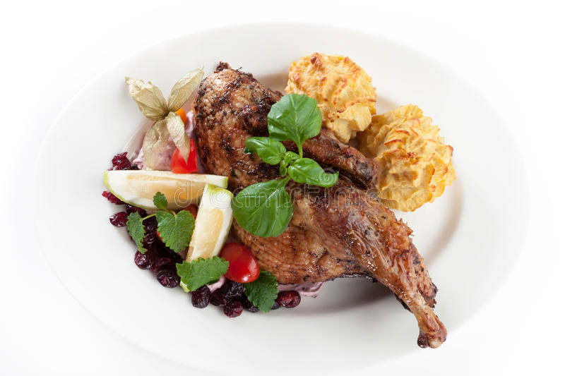 Roasted chicken with cranberries royalty free stock photos