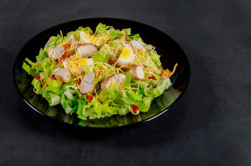 Roasted chicken fillet with lettuce and cherry tomatoes salad. Top view stock photography