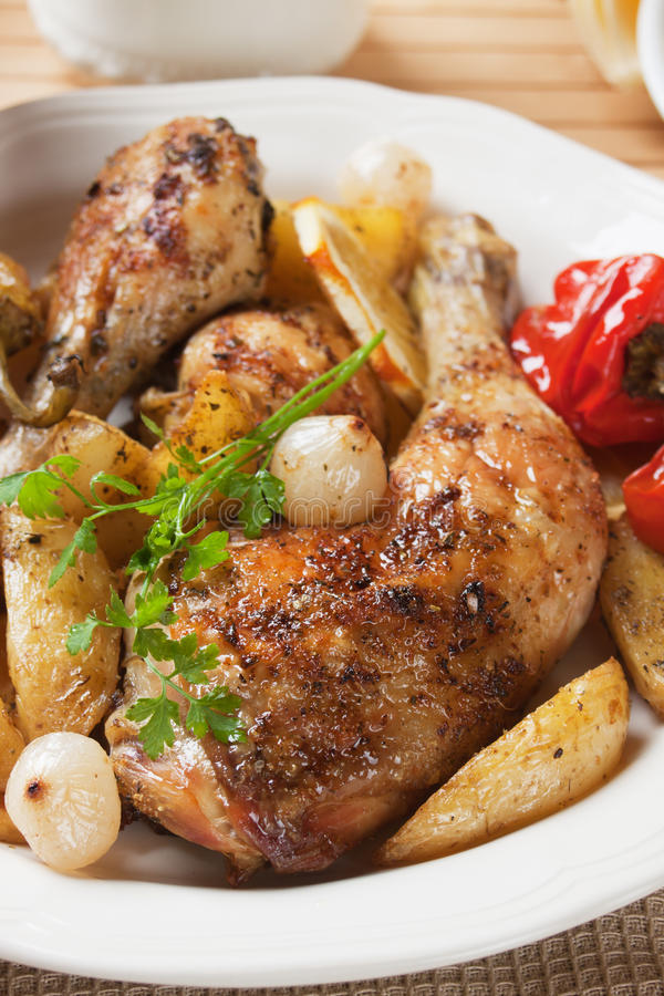 Download Roasted chicken leg stock photo. Image of meat, potato - 28538864