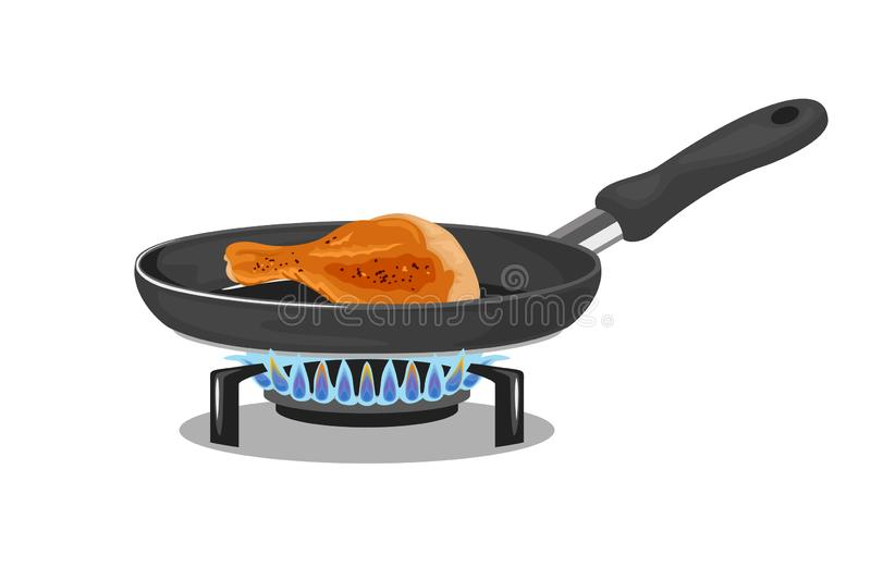Roasted chicken legs. Frying pan on gas stove isolated. On white background. Vector illustration of fried meat in cartoon simple flat style vector illustration