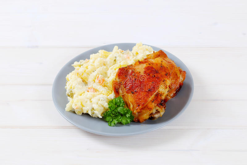 Download Roasted Chicken With Potato Salad Stock Photo - Image: 83706710