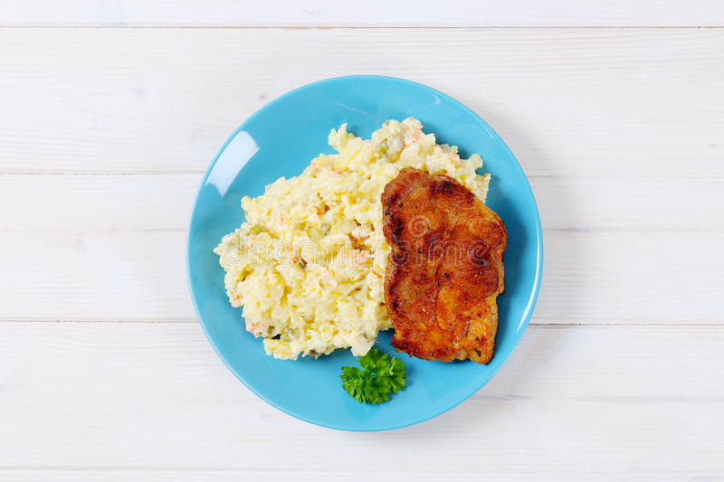 Download Roasted Chicken With Potato Salad Stock Photo - Image of meat, above: 83709634