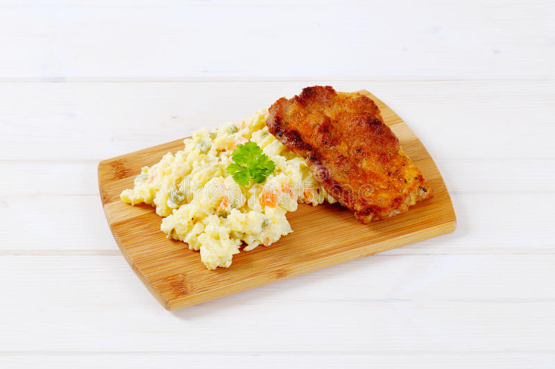 Download Roasted Chicken With Potato Salad Stock Photo - Image of dish, lunch: 83709358