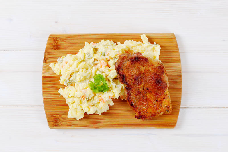 Download Roasted Chicken With Potato Salad Stock Photo - Image: 83709374