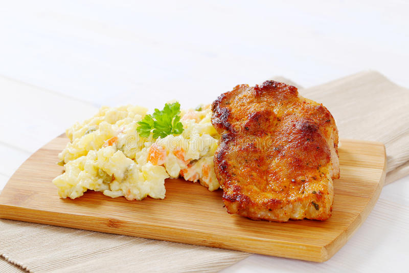 Download Roasted Chicken With Potato Salad Stock Image - Image of food, shot: 83709353