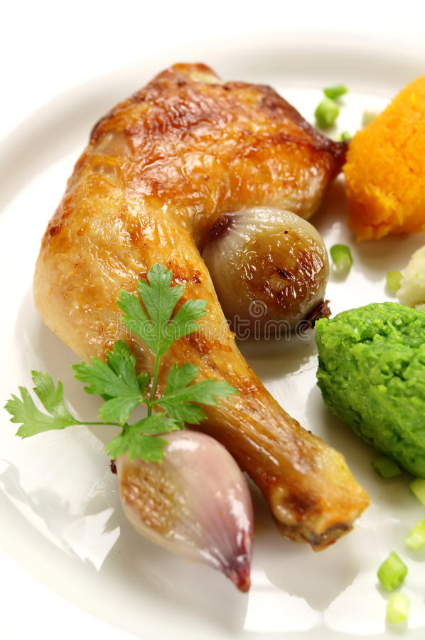 Roasted Chicken Quarter royalty free stock photography