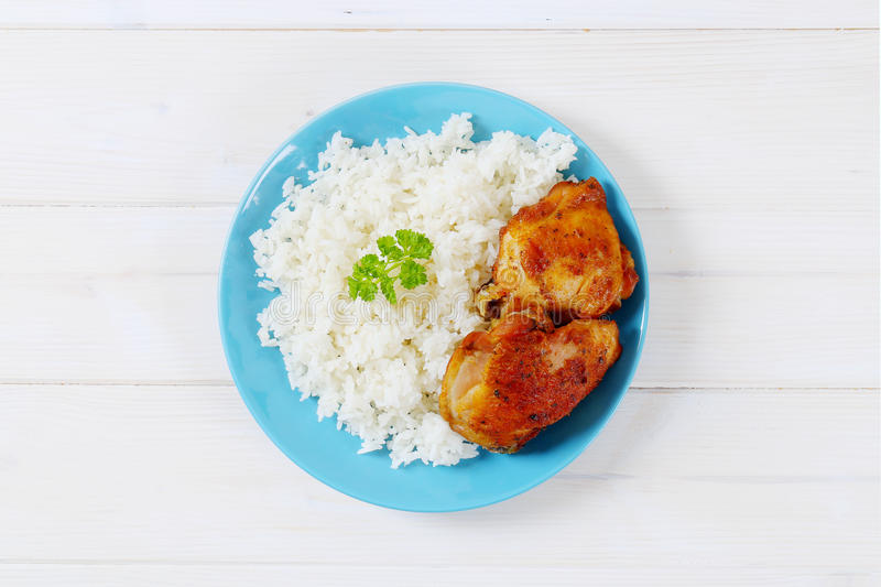 Download Roasted chicken with rice stock photo. Image of lunch - 83709310