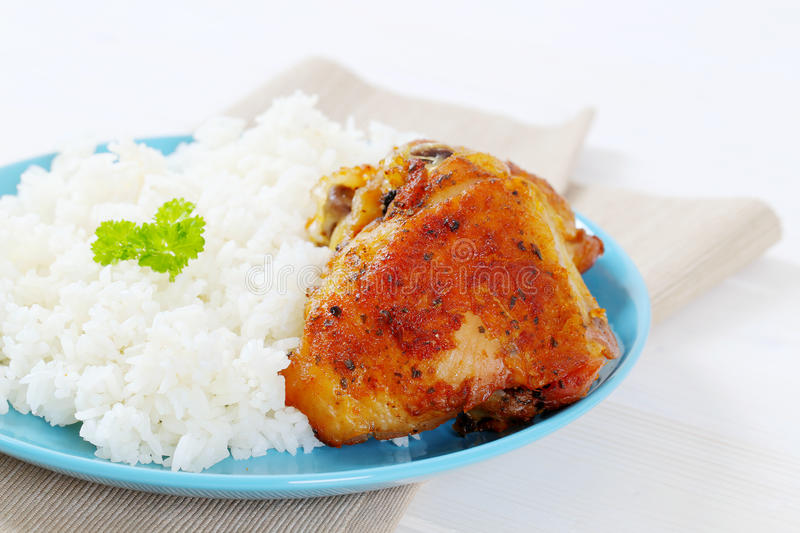 Download Roasted chicken with rice stock image. Image of place - 83709293