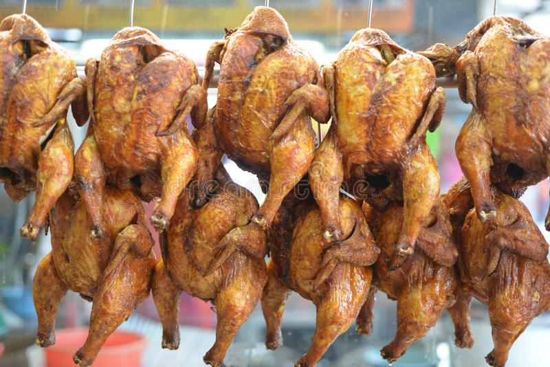 Roasted Chicken. At Chinese shop, usually these  will serve with rice royalty free stock photo