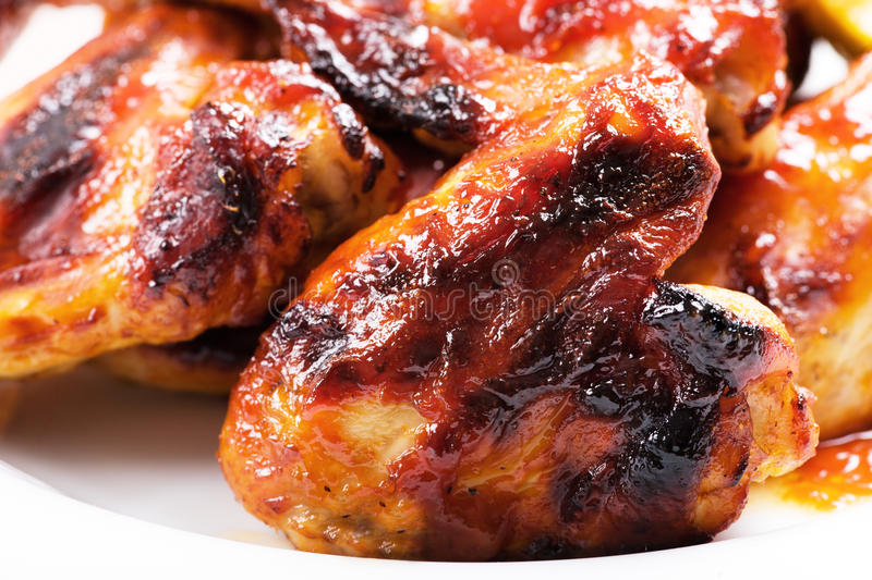 Roasted chicken wings stock image
