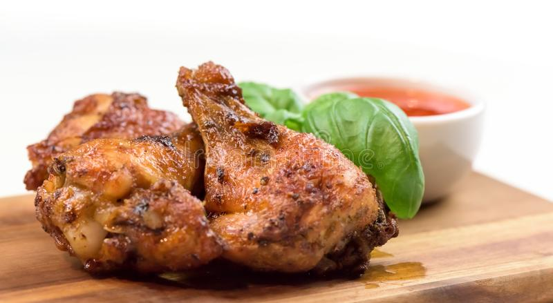 Roasted chicken wings - banner design - macro, closeup stock photo