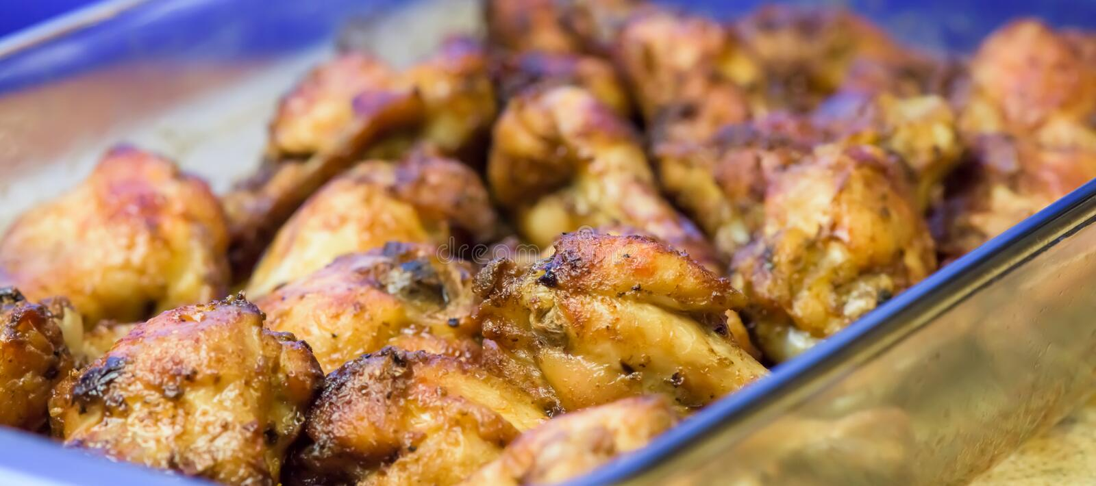 Roasted chicken wings - macro, closeup stock photos