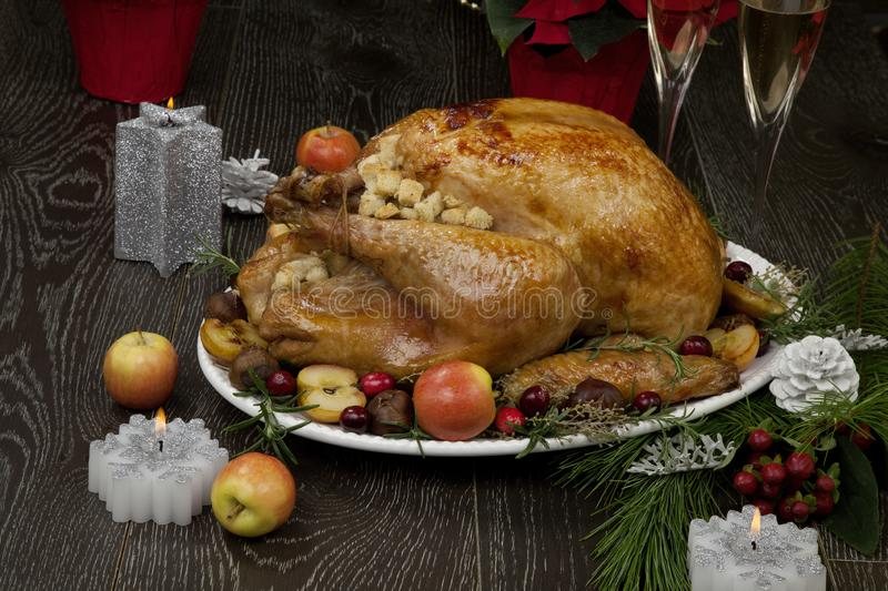 Roasted Christmas Turkey with Grab Apples royalty free stock photo