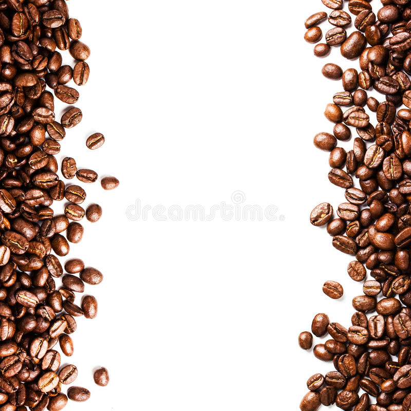 roasted coffee bean background isolated on white