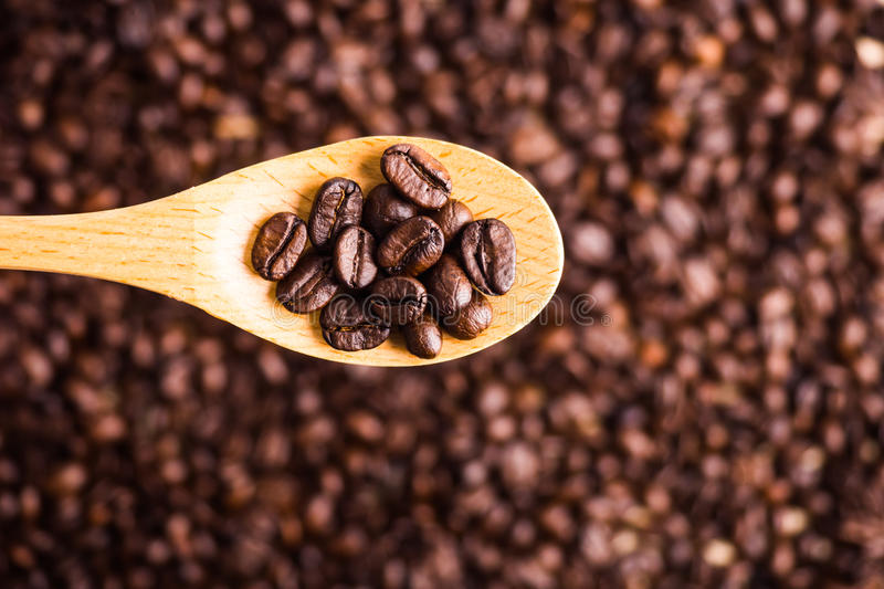 Roasted coffee bean background and texture with wooden spoon, se royalty free stock image
