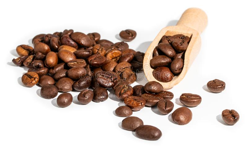 Roasted coffee bean isolated on white background.  royalty free stock photography