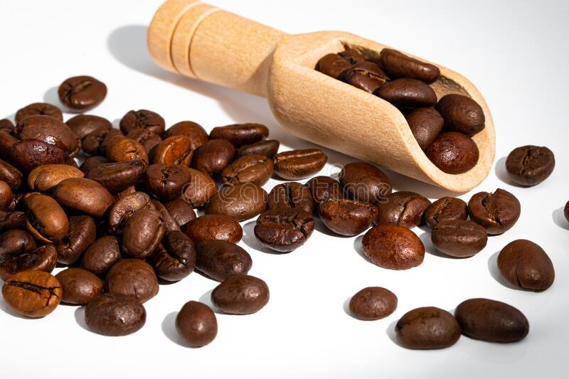 Roasted coffee bean isolated on white background.  royalty free stock photos