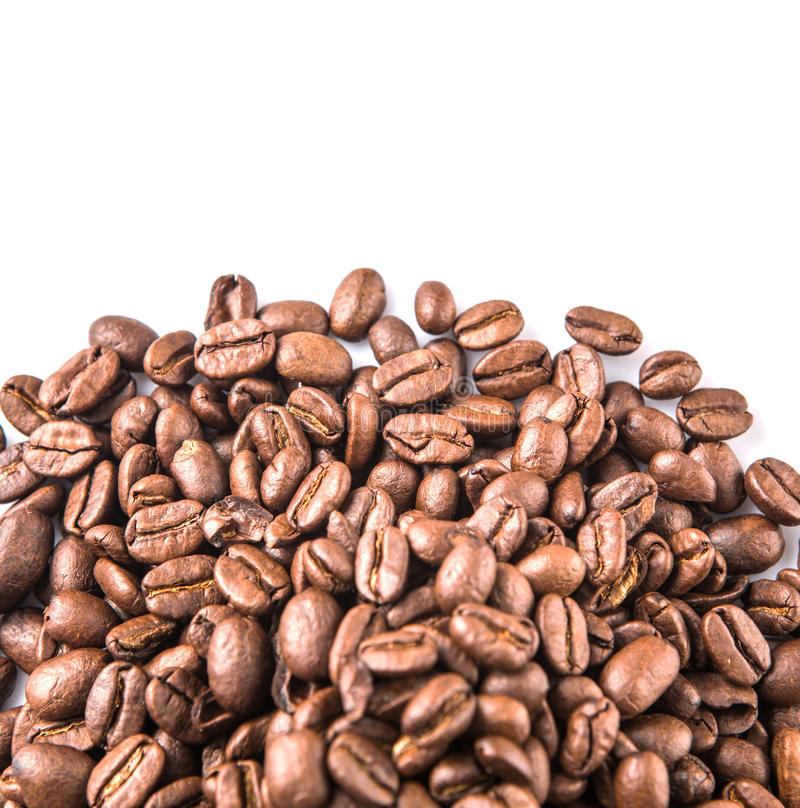 Roasted Coffee Bean IX. Roasted coffee bean over white background stock photo