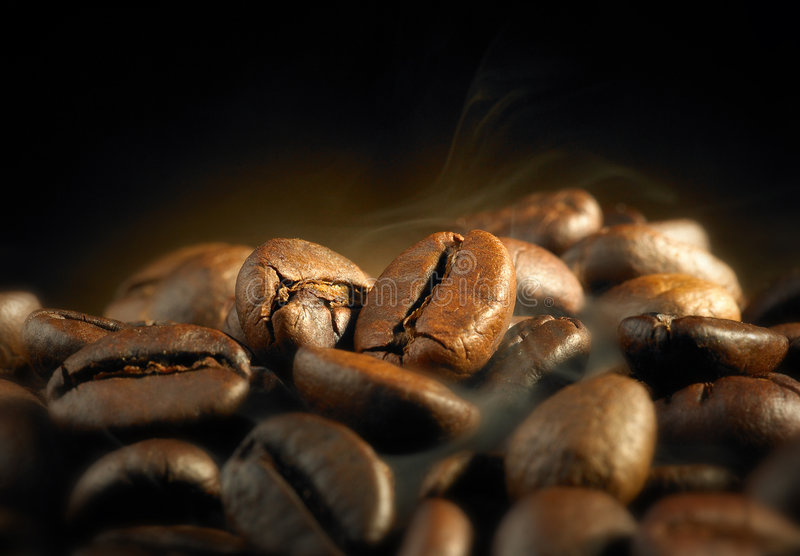 Roasted coffee beans. The aroma of roasted coffee beans stock photo