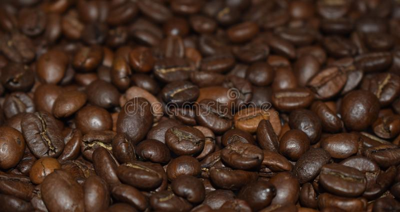 Roasted coffee beans, coffee, aromatic food and drinks. Top view flat texture. Close Up Background. All space filled with coffee beans. Selective depth of stock images