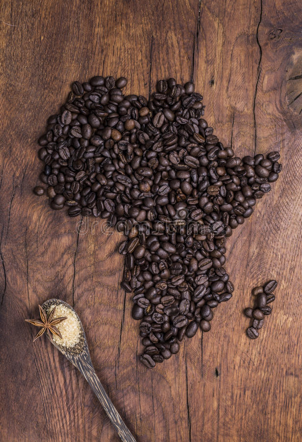 Roasted coffee beans arranged in the shape of Africa on old wood stock photos