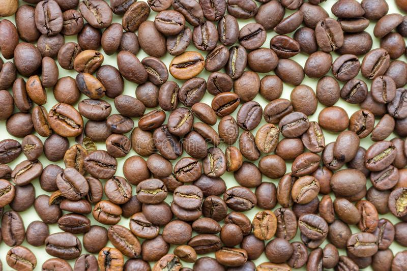 Roasted coffee beans as coffee background. Aroma ingredients. Natural morning drink. Coffee bean close up. Black coffee. Morning concept stock photography