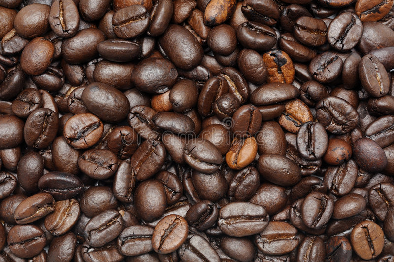 Roasted coffee beans background royalty free stock photography