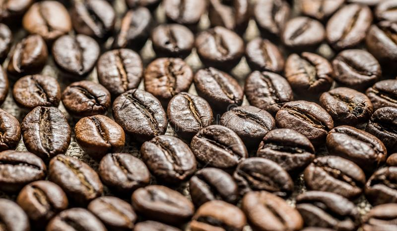 Roasted coffee beans on the background of linen fabric. Brown roasted coffee beans on the background of linen fabric. Background for the decor of cafes and cards royalty free stock image