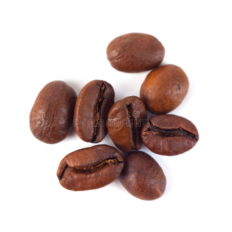 Free Roasted Coffee Beans Isolated On White Background. Three Coffee Royalty Free Stock Photo - 132277855