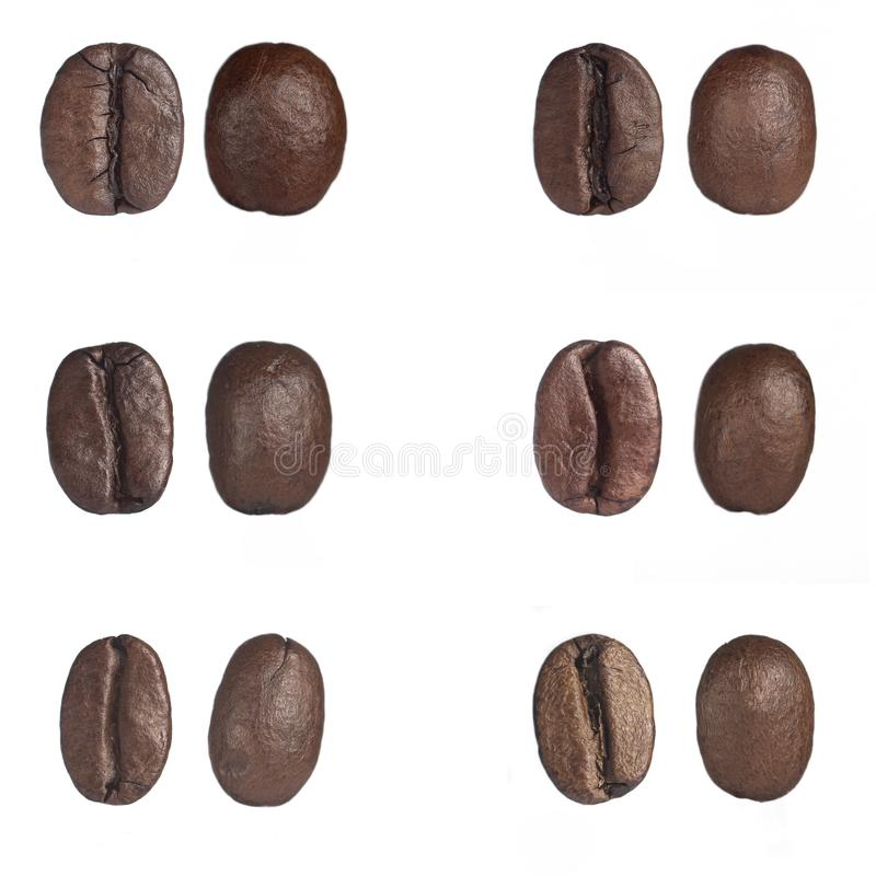 Roasted coffee beans isolated on white background with clipping path royalty free stock photos