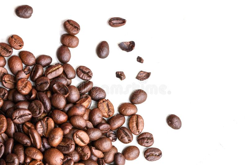Roasted coffee beans isolated on a white background. Thailand stock image
