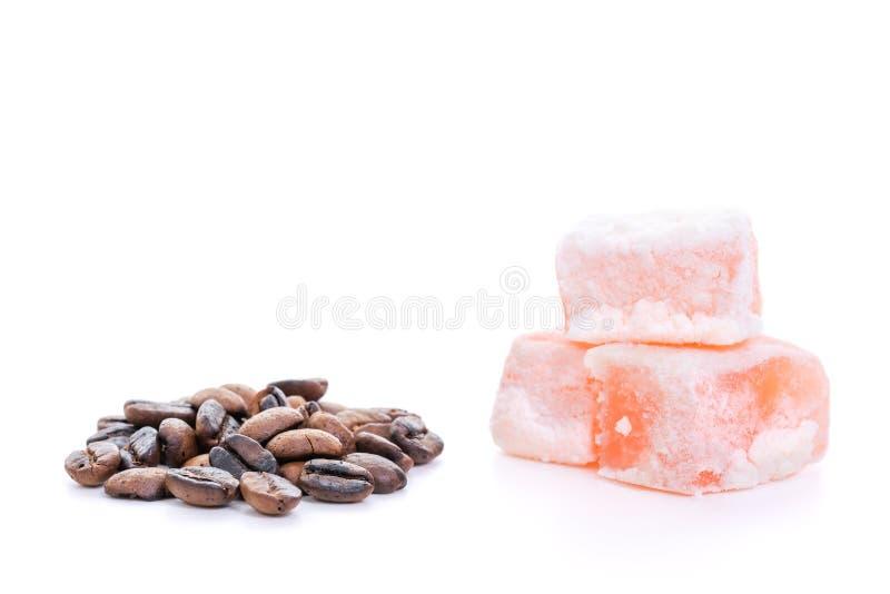 Roasted coffee beans and rahat lokum stock photo