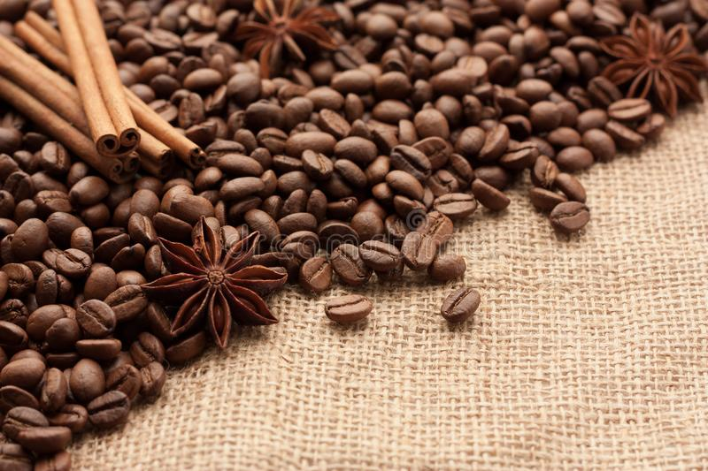 Roasted coffee beans are scattered on sackcloth with star anise and cinnamon sticks. royalty free stock photography