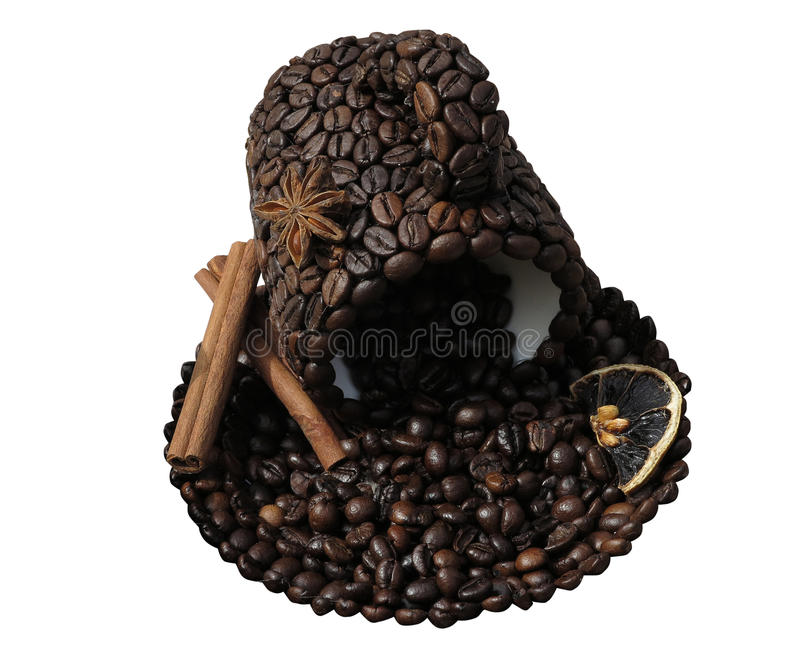 Download Roasted Coffee Beans In The Shape Of A Cup And Saucer Concept On Stock Image - Image of ingredient, breakfast: 35477253