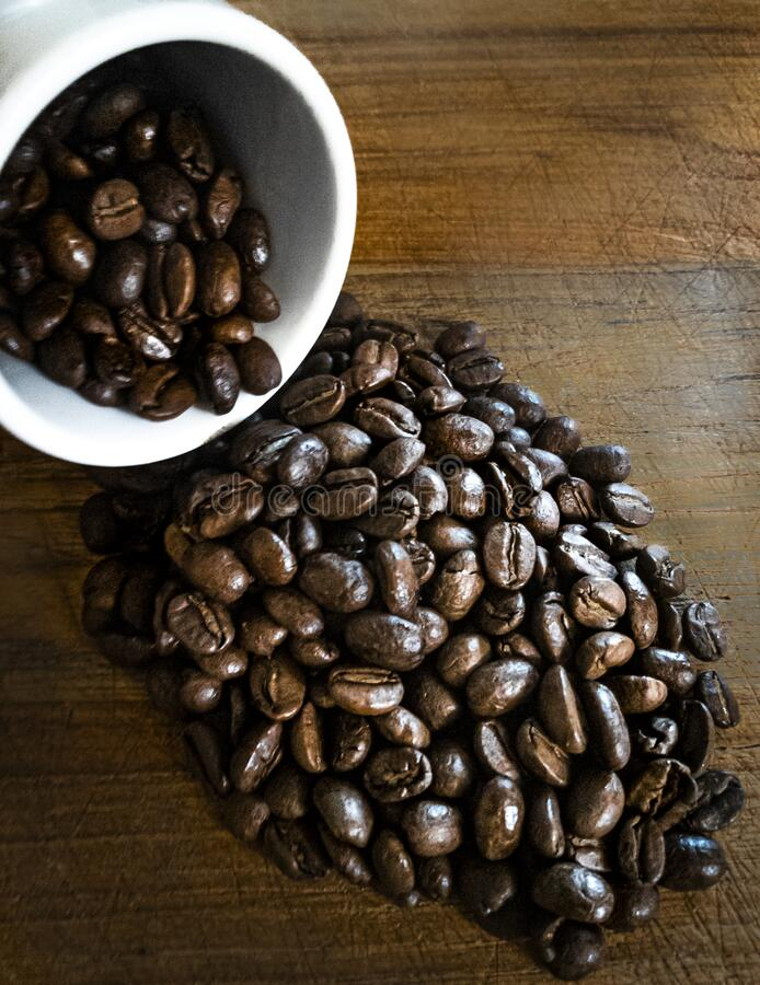 Roasted coffee beans spilling out of a white cup stock images