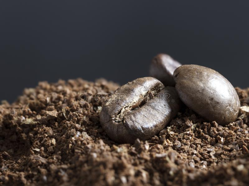 Roasted Coffee Beans. A stillife shot of the product from the coffea arabica plant, divided into to as roasted coffee beans and coarse ground coffee. nA great royalty free stock images