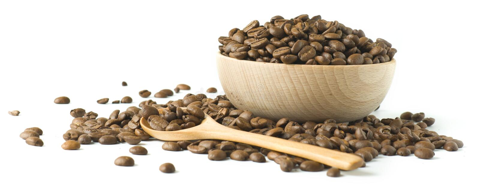 Roasted Coffee Beansin A Wooden Cup Stock Images