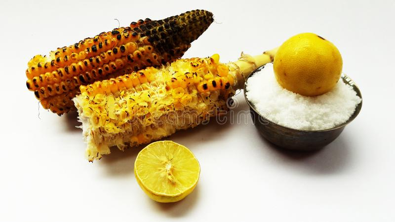 Roasted corn closeup image isolated on white background. Alternative, ripe, nature, science, summer, growth, industry, plant, lifestyle, fuel, scene, snack stock images