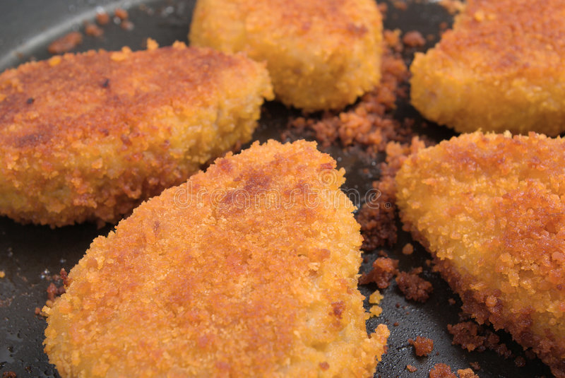 Roasted Cutlets in the pan Close-up royalty free stock image