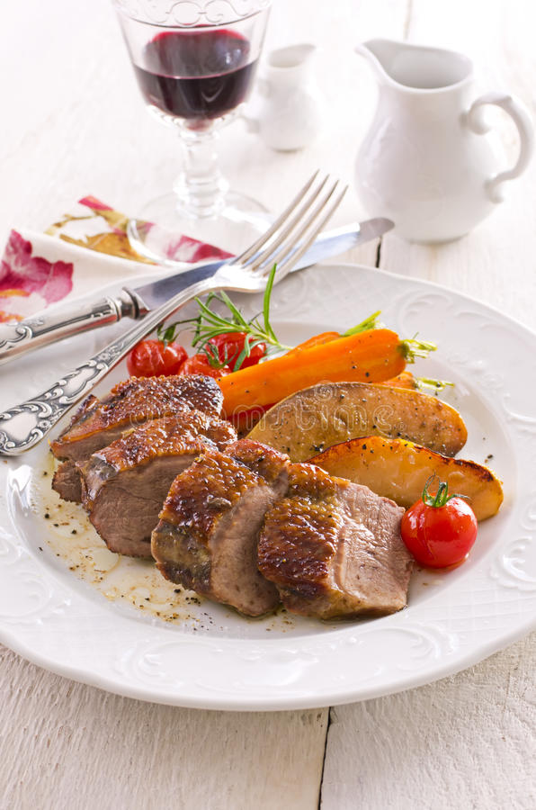 Roasted Duck Breast Fillet stock photography